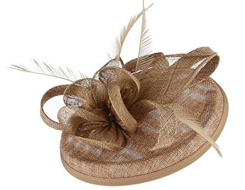 GEMVIE Damen Fascinators Hut Blumen Elegant Brauthut Haar Clip Hut Haarschmuck Braun