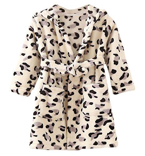 DELEY Unisex Kinder Mädchen Jungen Kapuzen-Bademantel Morgenmantel Weiches Coral-Fleece Nachtwäsche Warm Tier Pyjamas Schwarz Leopard Größe 116/122 (Kinder Leopard Pyjama)