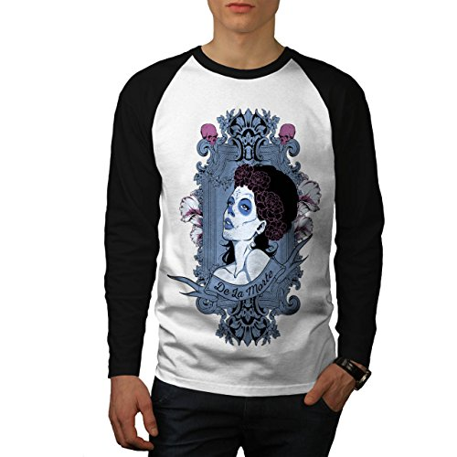 Girl De La Morte Horror Men M Baseball LS T-shirt | (Geist Kostüm Ls)