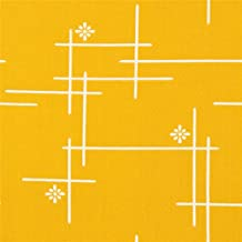 Tissu bio birch jaune moutarde avec des lignes, des fleurs, des formes