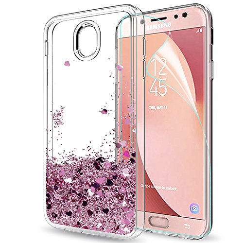 LeYi Custodia Samsung Galaxy J7 2017 Glitter Cover con HD Pellicola,Brillantini Trasparente Silicone Gel Liquido Sabbie Mobili Bumper TPU Case per Galaxy J7 (Duos) 2017 / J7 PRO 2017 ZX Rose Gold