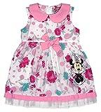 Disney Baby Mädchen Minnie Mouse FEST-Kleid Tüll-Rock Sommerkleid mit Bubikragen in Gr 74 80 86 92 98 104 110 116 122, Baumwolle Bluemnmädchen Outfit Farbe Rosa, Größe 80