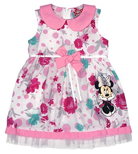 Disney Baby Mädchen Minnie Mouse FEST-Kleid Tüll-Rock Sommerkleid mit Bubikragen in Gr 74 80 86 92 98 104 110 116 122, Baumwolle Bluemnmädchen Outfit Farbe Rosa, Größe 110 (Minnie Standard Kostüme)