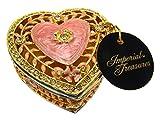 Imperial Treasures emaillierte juwelenbesetzte Herz Schmuckschatulle in rosa