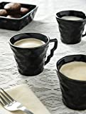 #4: Kittens 6 Sparkling Black Ceramic Tea / Coffee Cups With 2 Square Shaped Ceramic Snack Bowls,Set Of 8 Pcs