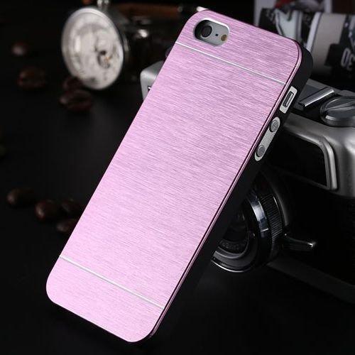 Apple iPhone 5 Case Glitzer Aluminium Handyhülle Metall Cover Blau Rose