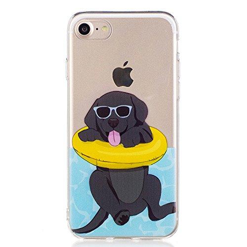 Cover iPhone 7, Voguecase Custodia Silicone Morbido Flessibile TPU Custodia Case Cover Protettivo Skin Caso Per Apple iPhone 7 4.7(Shih Tzu) Con Stilo Penna Nero Bulldog