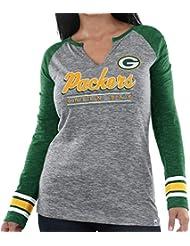 "Green Bay Packers Women's Majestic NFL ""Lead Play 3"" Long Sleeve Raglan shirt Chemise"