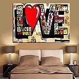 xingbu Kein RahmenPoster Hd Print Street Art Graffiti 3D Rot Liebe Moderne Abstrakte Leinwand ng Kunst Wandbilder Für Wohnzimmer Cuadros Decor 60x90 cm