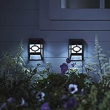 2 Apliques Solares LED de Luz Blanca Fría en Plexiglás para Vallas y Paredes Exteriores de Lights4fun