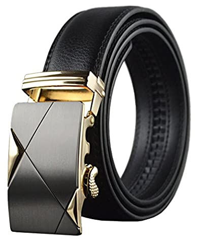 QISHI YUHUA PD Mens Casual Genuine Leather Belts Automatic Buckle Belt(08-00,110cm)