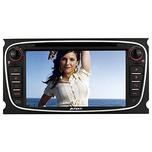 Pumpkin Autoradio Moniceiver für Ford Focus Mondeo Galaxy S-Max mit Navi Unterstützt Bluetooth USB CD SD Aux Rückfahrkamera Lenkradsteurung 2 Din