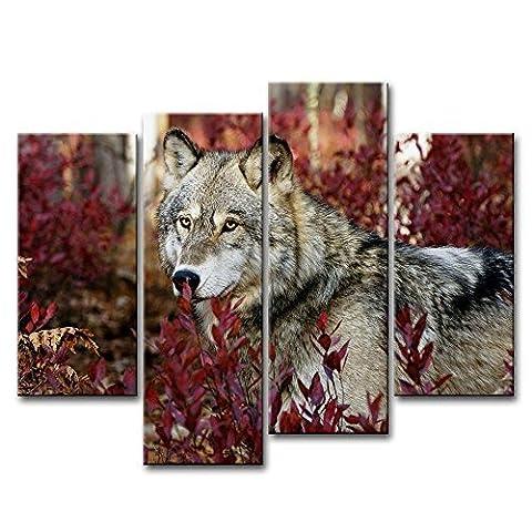 4pièces Décoration murale Tableau Loup dans la forêt photos des Impressions sur toile Animal le Décor à l'huile pour Home moderne Décoration d'impression