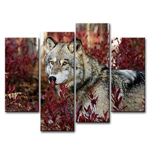 4Stück Wand Kunst Bild Wolf im Wald Bilder Drucke auf Leinwand Tier der Decor Öl für Home Moderne Dekoration Print (Leinwand-drucke Tier)