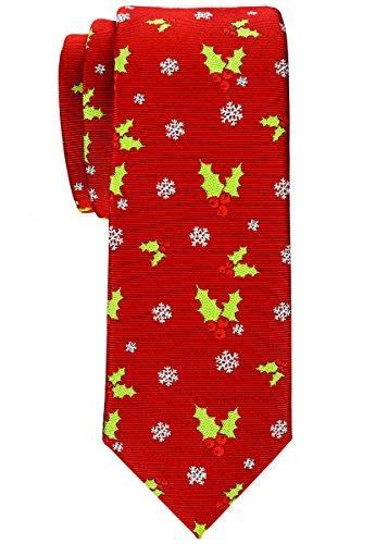 Gewebte Blätter (Retreez Herren Schmale Gewebte Weihnachten Krawatte Holly Blätter 6 cm - rot, Weihnachtsgeschenk)
