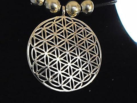 Silber Blume des Lebens Anhänger Reki heilige ägyptische Geometrie, alte meraphysische Darstellung mit Silber Perlen auf verstellbare 83 cm Choker Halskette, neu mit Tag, made in USA
