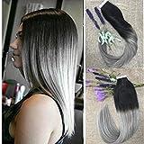 Full Shine 40Pcs/100g Extensions Cheveux Bandes Adhesives Deux tons Couleur Noir à L'argent Ombre Tape Cheveux Naturels Extensions 24 Pouces 100% Remy Tissage de Peau Lisse Extensions
