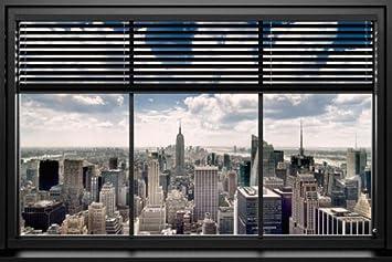 Blick aus dem fenster poster  Amazon.de: Poster Blick aus dem Fenster auf Manhattan/New York ...