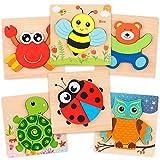 Coogam di Legno Sega Puzzle Set 6 Pezzi di Giocattoli Montessori a Forma di Animale, fine Gioco di abilità educativo per Bambini in età prescolare