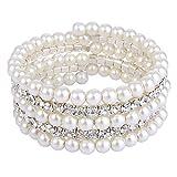 TENYE oesterreichische Kristall Hochzeit Schichte Cream Ivory farbe kuenstliche Perle Strand Armband klar