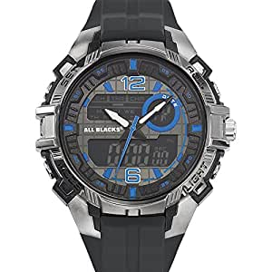 All Blacks - 680239 - Montre Homme - Quartz Analogique - Digital - Cadran Noir - Bracelet Plastique Noir