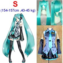 VOCALOID,Hatsune Miku Cosplay Traje+120cm peluca, tamaño S (altura 154-157 cm, peso 40-45 kg)