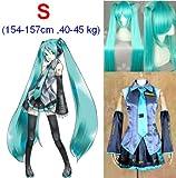 VOCALOID, Hatsune Miku Cosplay Wig 120 centimetri, taglia S: altezza 154-157cm, peso 40-45 kg
