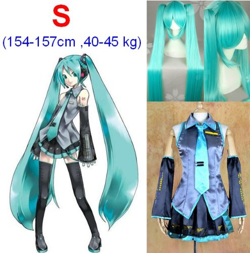 (VOCALOID,Hatsune Miku Cosplay Kostüm+120cm Perücke, Größe S:Höhe 154-157CM,Gewicht 40-45 kg)