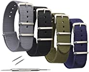 4 Pack NATO Watch Bands,STYLELOVER Ballistic Nylon Watch Straps - Choices of Colors & Widths 16mm 18mm 20m