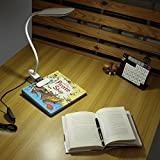 Dimmable LED Desk Lamp Clamp-on with UK Plug, Geekeep 5W USB Powered Eye-caring Table Lamps with 24 LEDs, 2 Dimming Levels, 3 Lighting Modes Flexible Clip On Desk Lights, Travel Light (White)