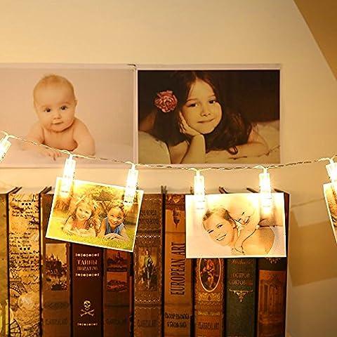 Affichage de La Photo Guirlande Lumineuse 2.2 Mètres de Fil 20 LED Clip Steady Flashing Lights Battery Powered Light pour Hanging Pictures Décoration Extérieur Intérieur(Blanc chaud)