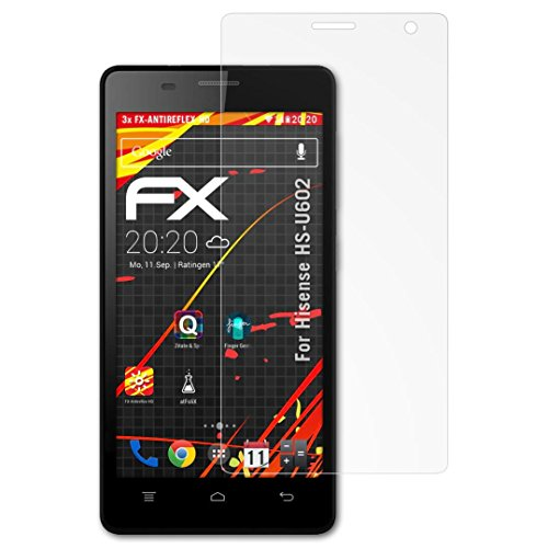 atFolix Schutzfolie kompatibel mit Hisense HS-U602 Bildschirmschutzfolie, HD-Entspiegelung FX Folie (3X)