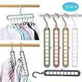 Sinwind Platzsparende Kleiderbügel, 5 Stück Drehbarer Kleiderbügel Platzsparend Multi Bügel Magic Hanger Rutschfester Kleiderbügel Organizer Innovative Design Cascading Hochwertiger Hanger