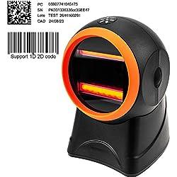 [Mise à niveau 2.0] 1D 2D Scanner Code à Barres Mains Libres Lecteur de Code-Barres Capteur MUNBYN Automatique pour Supermarché, Magasin de Détail, Magasin de Vêtements
