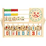 Trinkets & More - Wooden Multifunctional Calculation Flap Abacus | Arithmetical Counting Beads | Smiling Face Clock | Elementary Educational Toy For Kids 2+ Years