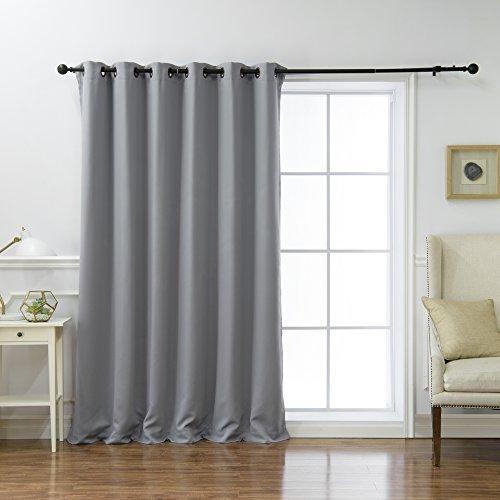 Best Home Fashion breiter Verdunkelungsvorhang, wärmeisolierend - 100, Polyester-Mischgewebe, grau, 80W x 96L