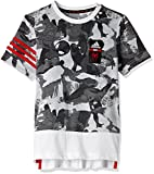 adidas Boys' T-Shirt (BK1066_White, Black and Scarlet_128)
