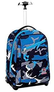 TROLLEY - INVICTA - CAMOUFLAGE - 2in1 Wheeled Backpack with Disappearing Shoulder Straps- Blue 35Lt by Invicta
