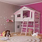 Jugend- und Kinderbett, Hochbett, Mädchenbett, Etagenbett, Spielhaus in zartem Creme-weiß/rosa (mit Tür und Regal)