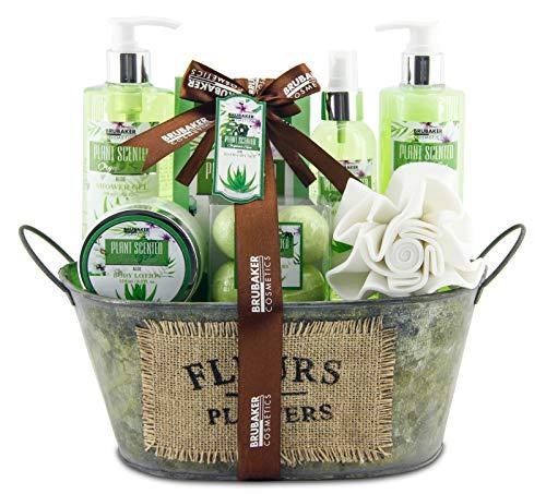 BRUBAKER Cosmetics Bade- und Dusch Set Aloe Vera - 11-teiliges Geschenkset in Vintage Wanne -
