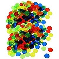 Sharplace 200 Bingo Chips Translúcido 3/4 Pulgadas Accesorios para Tarjetas Juego de Bingo Juguete de Conteo Color Mixto