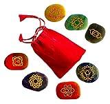 7 Chakra Steine mit den 7 Chakren eingraviert Handgravur Energiestein Therapie