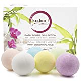 Bath Bombs Gift Set of 6 Extra Large Premium Pack in a Deluxe Package 100% Natural Organic Ingredients Essential Oils for Spa & Home Skin Hydration Relaxation & Wellness Comes with Bonus Pumice Stone