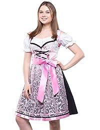 Bavarian Clothes Dirndl Trachtenkleid Kleid 3 TLG. mit Dirndlbluse Schürze geblümt Gr: 34-54 in Farbe rot schwarz Gold türkis blau pink violett grün grau Wiesn Midi Oktoberfest