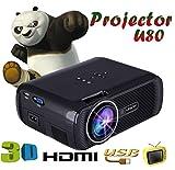 UHAPPY LED-High-Definition-portable Mini-Projektor 3D 1000 Lumen unterstützen 20000 Stunden LED-Leben , BLACK