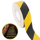 UEETEK – 5m langes, schwarzes, rutschfestes Hochglanz-Sicherheitsklebeband aus PVC für drinnen und draußen