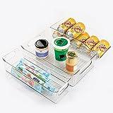 mDesign 3-teiliger Schrank Organizer – Aufbewahrungsboxen aus Kunststoff für Kühlschrank, Vorratskammer und Küchenschrank – 2 Stapelboxen für Lebensmittel und 1 Ablage für Getränkedosen – durchsichtig