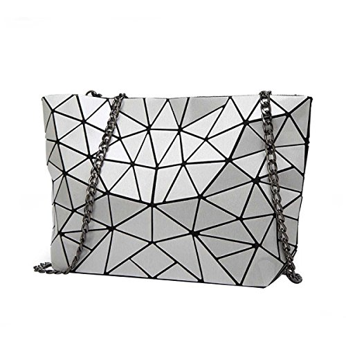 Signore Laser Rhombus Bag Pieghevole Geometrica Lingge Spalla Irregolare Bag Grey