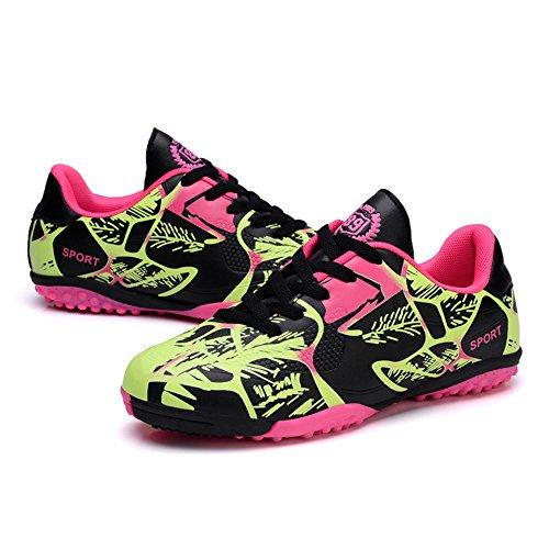 Soccer Shoes Junior Men Turf Hard Ground Kids Professional Football Trainers PU Walking Sneakers Pink 33