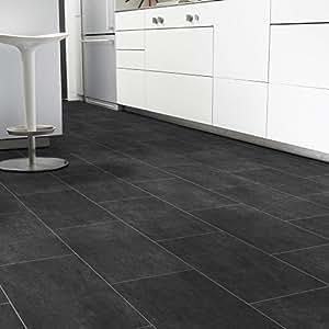 pvc bodenbelag fliese schwarz melbourne noir breite 4 m. Black Bedroom Furniture Sets. Home Design Ideas